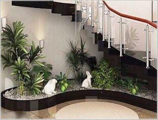 desain taman kering di dalam rumah
