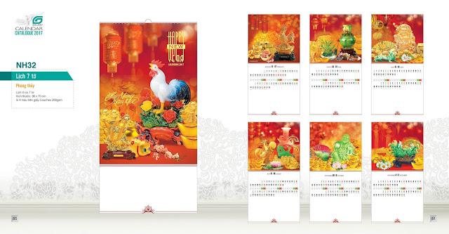 NH32 -Phong thuy , Lịch treo tường 7 tờ, in lịch, mẫu lịch đẹp, mau lich phong thuy