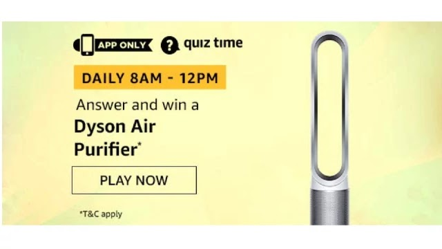 Amazon Quiz Answers For Today 16th May 2020 - Win Dyson Air Purifier