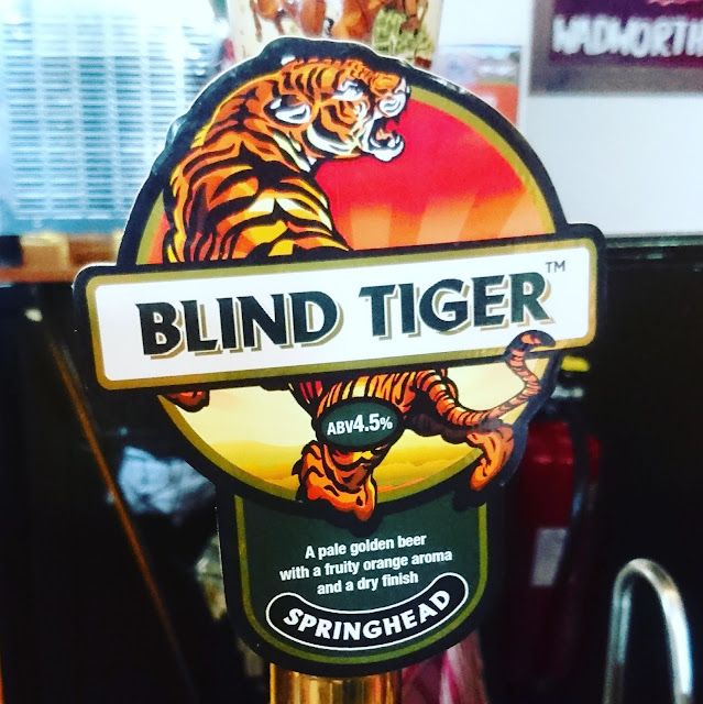 Nottinghamshire Craft Beer Review: Blind Tiger from Springhead real ale pump clip