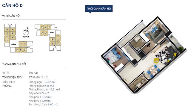 Thiết kế căn hộ D - 77 và 89m2 - Rivera Park