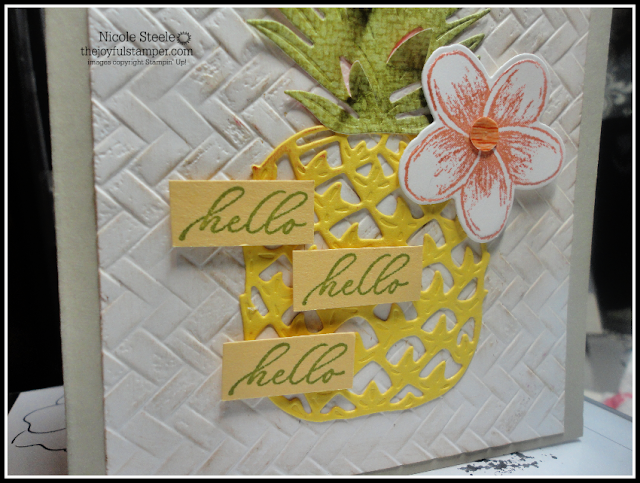 Hello, Pineapple card cased from Sale-A-Bration catalog with Tropical Oasis suite