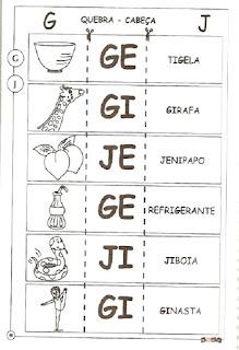 Atividade ortografia alfabetização g e j