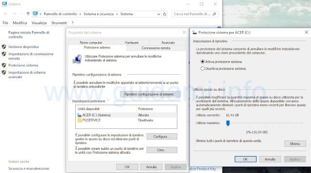 Ripristino configurazione sistema Windows 10