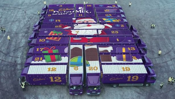 See How 24 Big Trucks Are Used To Make This Awesome Christmas Advent Calendar for Cadbury