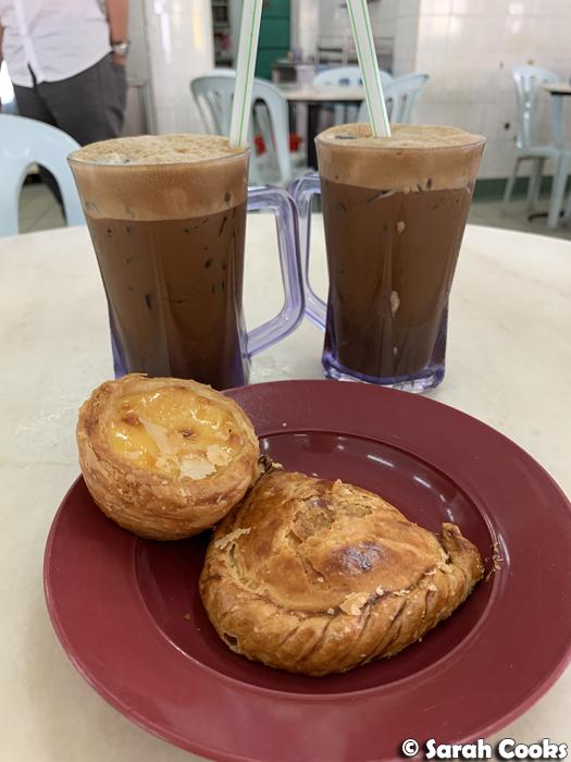 Kaya puff, egg tart, iced coffees, Restoran Impressive