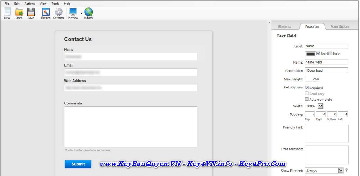 Download và cài đặt CoffeeCup Web Form Builder 2.9 Full Key, TRÌNH TẠO BIỂU MẪU WEBSITE chuyên nghiệp.