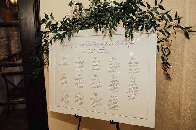 reception seating chart with greenery