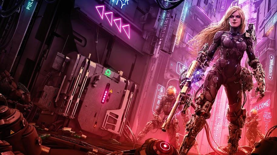 Cyberpunk, Soldier, Girl, Sci-Fi, 4K, #107