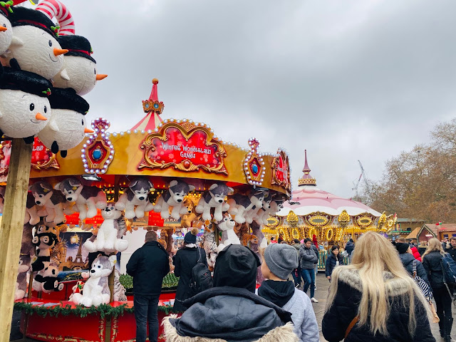 Fairground games at Winter Wonderland with giant teddy bear prizes
