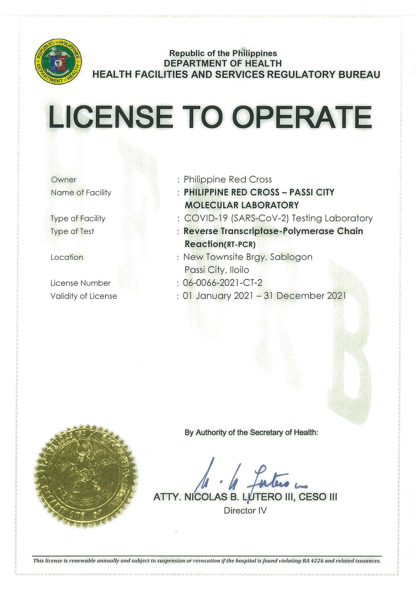 License to operate Passi Molecular Lab