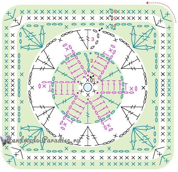 Схема вязания цветочного мотива «Водяная лилия»