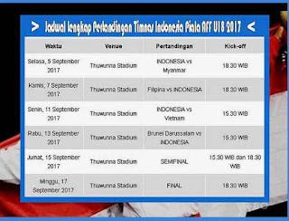 Jadwal Lengkap Pertandingan Timnas Indonesia Piala AFF U18 2017