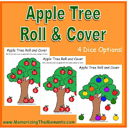 Beginning Math Fall Apple Tree Roll and Cover Game for numbers and colors.