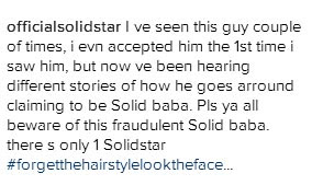 Singer Solidstar comes for a guy impersonating him