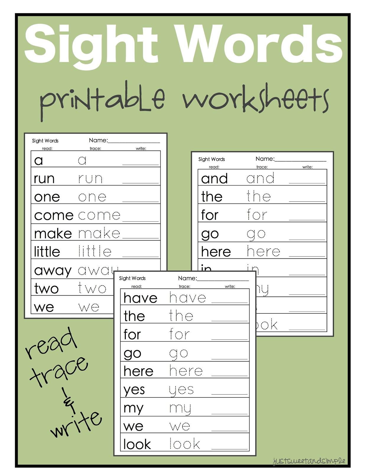 just Sweet and Simple: Preschool Practice: Printable Color ...