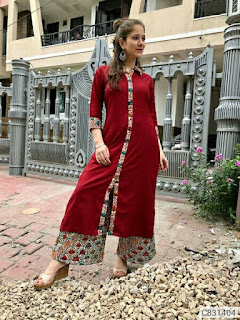 Latest Rayon Printed Straight Kurti Palazzo Sets