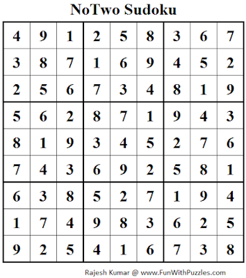 NoTwo Sudoku (Daily Sudoku League #113) Solution