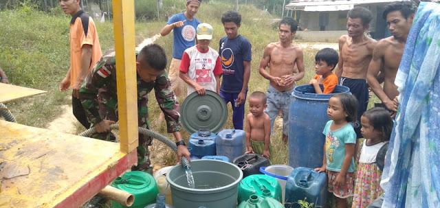Satgas 301 Atasi Kesulitan Warga Perbatasan Peroleh Air Bersih