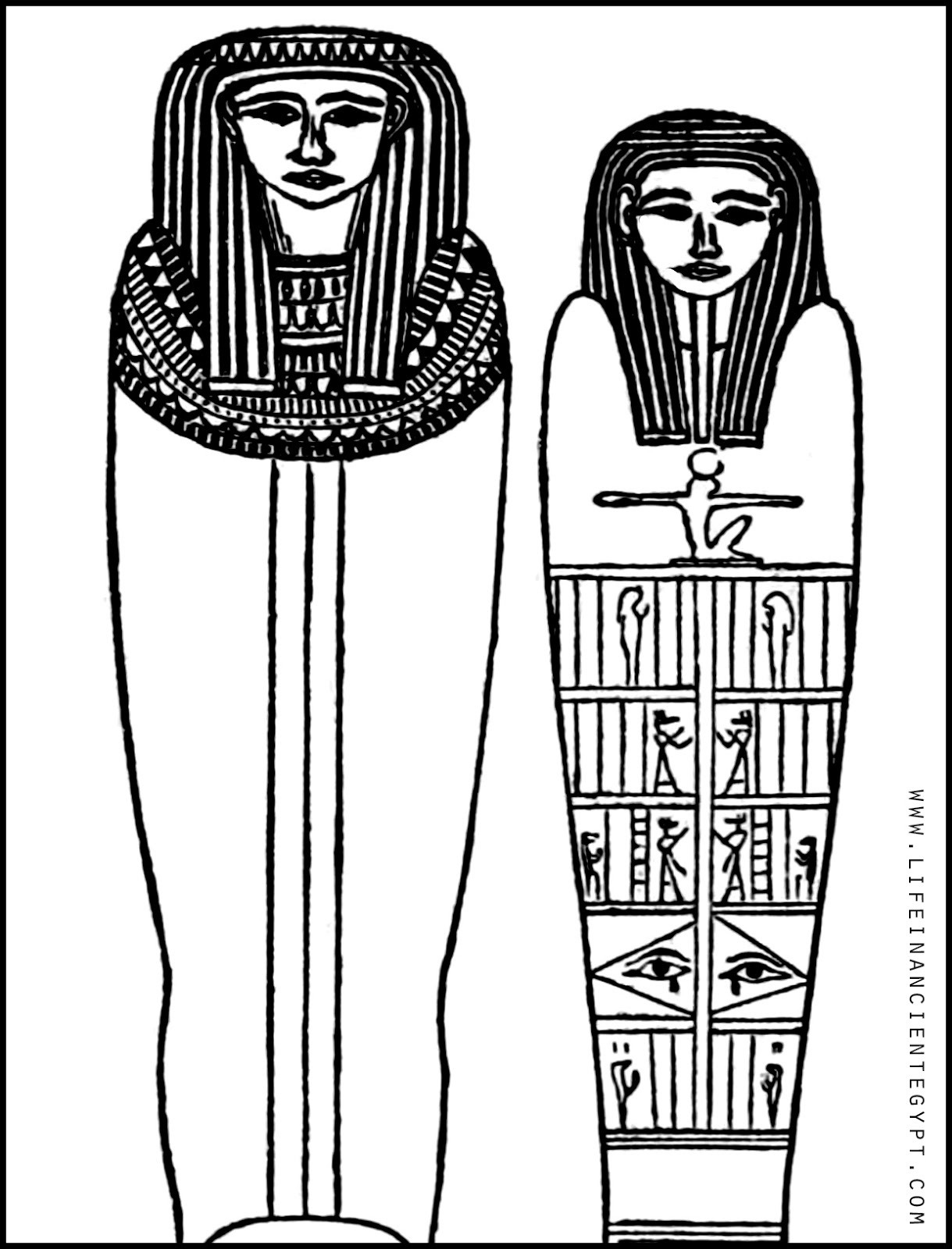 Ancient Egypt Sarcophagus Coloring Page Man And Woman