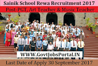 Sainik School Rewa Recruitment 2017– 03 PGT, Art Teacher & Music Teacher