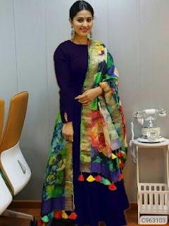Stylish Rayon Solid Full Sleeves Round Neck Ankle Length Anarkali Kurtis