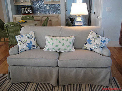 Small Slipcovered Sofa with Outdoor Fabric
