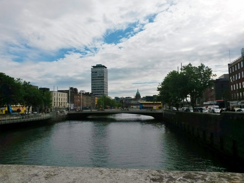 The River Liffey Through Dublin. Tour of Ireland