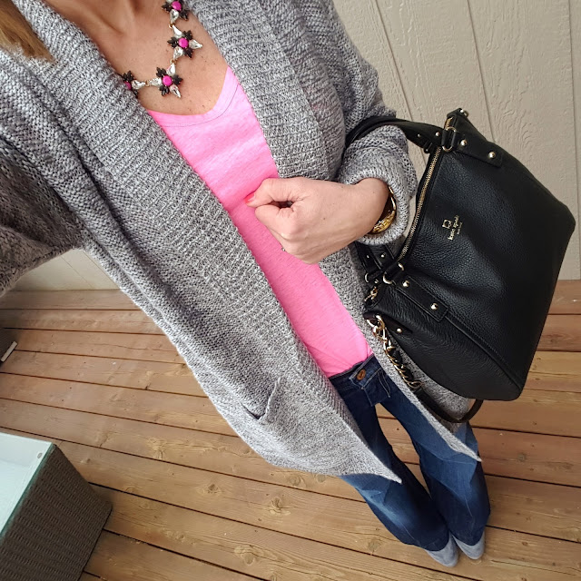 BP. Duster Cardigan (similar) // Banana Republic Tee (this year's version) // Jessica Simpson Addey Booties (they are 45% off in black - I have these too!) // J. Crew Factory Necklace (similar) // Kate Spade Pine Street Kori - 63% off!!! // Michael Kors Runway Watch - 44% off!!!