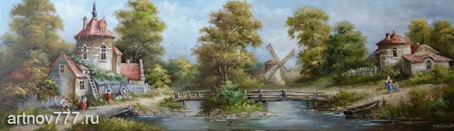 Картина на холсте, 25х80см. Пейзаж с мостом и мельницей у реки