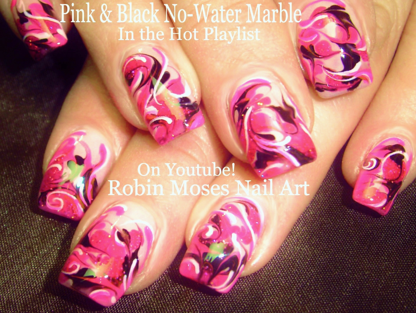 Nail art by robin moses up for monday hot pink no water marble nail art tutorial diy marble nails hot pink nail with no water needed nail design solutioingenieria Images