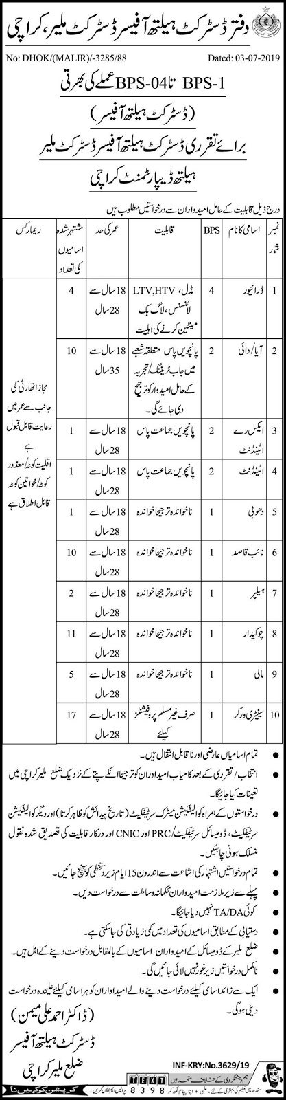 Jobs In Office Of The District Health Officer July 2019 Latest