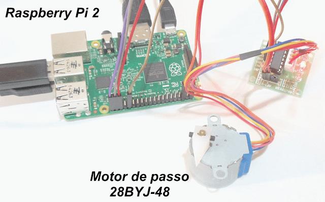 como ligar o motor de passo 28BYJ-48 no Raspberry Pi 2