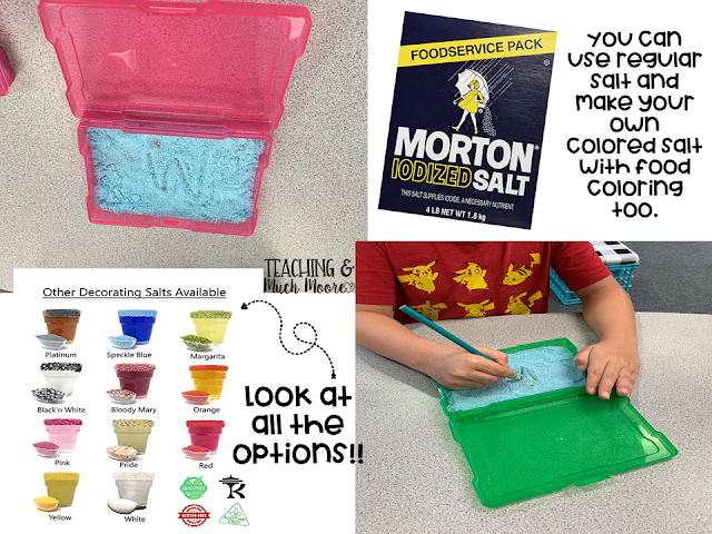 salt boxes in the classroom