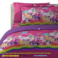Sprei Custom Katun Lokal Anak Kuda Pony Pink Esra Kartun Karakter Pink Ungu