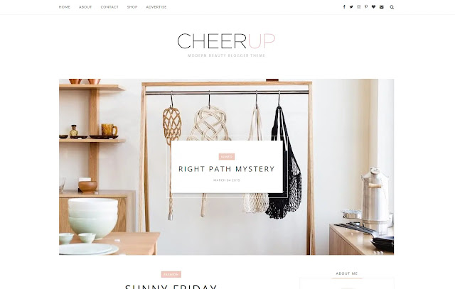 CheerUp Responsive Personal Blog Clean Minimalist Fashion Girly Update Story Blogger Template Theme