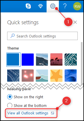"""خيار """"عرض كافة إعدادات Outlook"""" لتطبيق Outlook على الويب."""