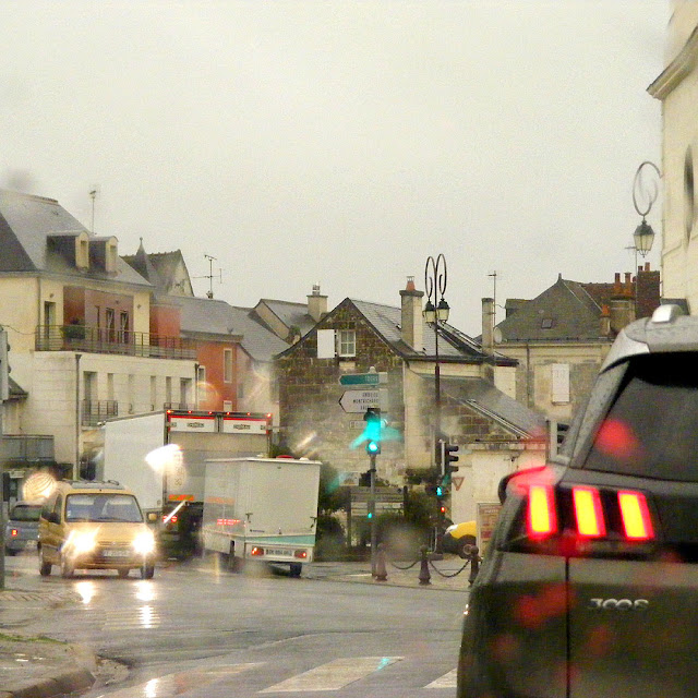 Driving through Loches in the rain, Indre et Loire, France. Photo by Loire Valley Time Travel.