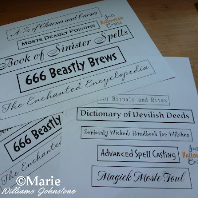Printouts of halloween themed book spine labels with fun titles
