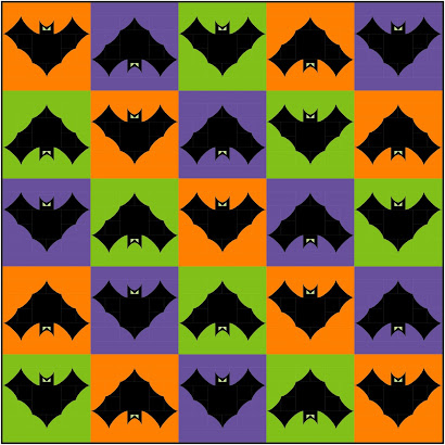 FREE spooky bat quilt block using the cathedral window technique