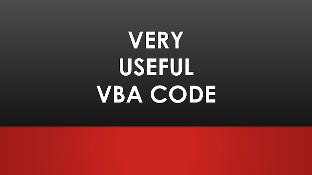 Very useful VBA code