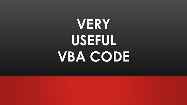 Very Useful VBA codes