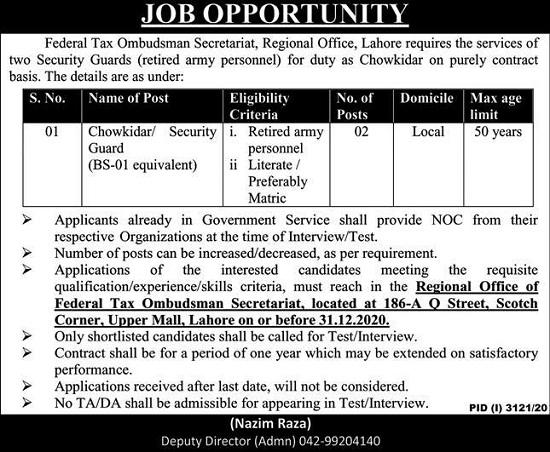 federal-tax-ombudsman-secretariat-lahore-jobs-2020-21