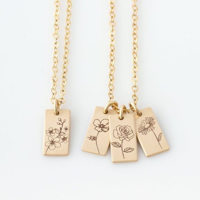 Personalized Birth Flower Engraved Necklace