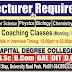 Capital Degree College Peshawar Jobs
