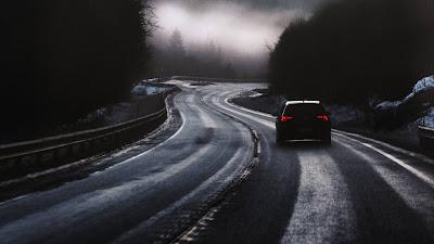 Street, car, fog, dusk, winter wallpaper