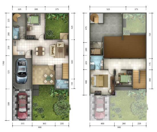 Denah rumah minimalis ukuran 9x17 meter 4 kamar tidur 2 lantai