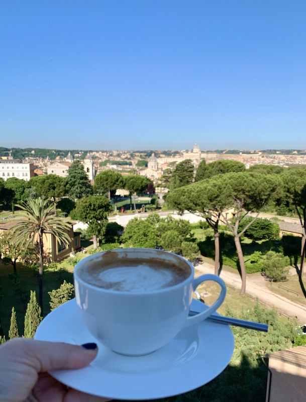 Cappuccino at Settimo Restaurant Hotel Sofitel Villa Borghese Rome-Gillian Longworth McGuire