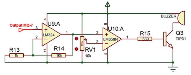 Implementasi Sensor Gas MQ-7 dengan sistem kendali analog