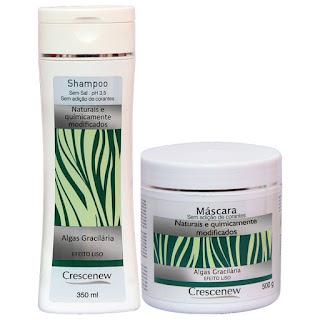 Kit shampoo e máscara de hidratação capilar tratamento de cabelo com algas